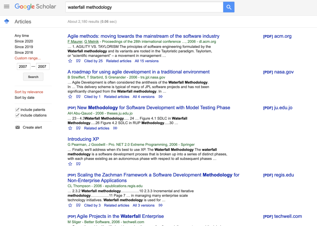 Google Scholar Waterfall Search for 2007