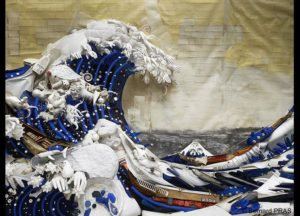 A bricolage version of The Great Wave Off Kanagawa by Bernard Pras